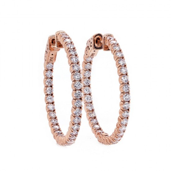 Rose Gold Diamond Hoop Earrings 29mm
