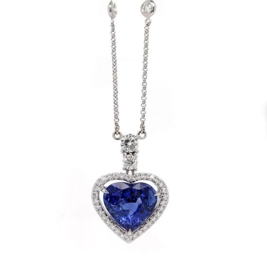 Sapphire Heart Halo Pendant