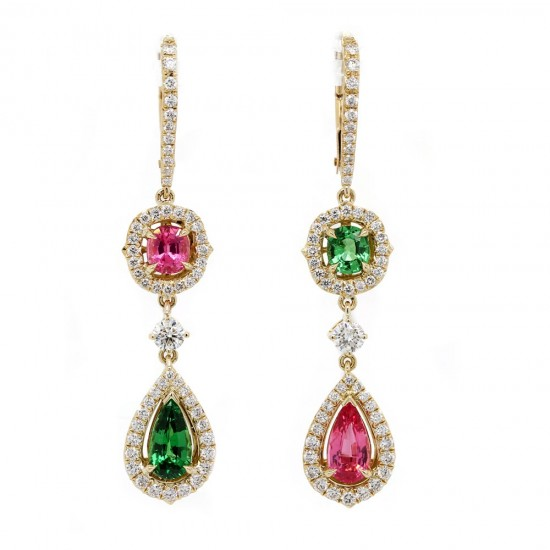 Tsavorite and Spinel Mismatch Earrings