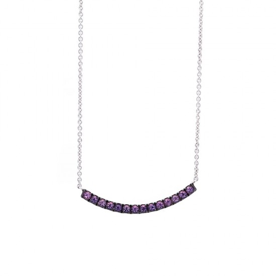White Gold Curved Bar Amethyst Necklace