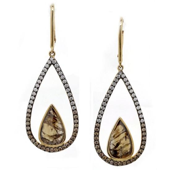 Rustic Diamond Drop Ombre Earrings