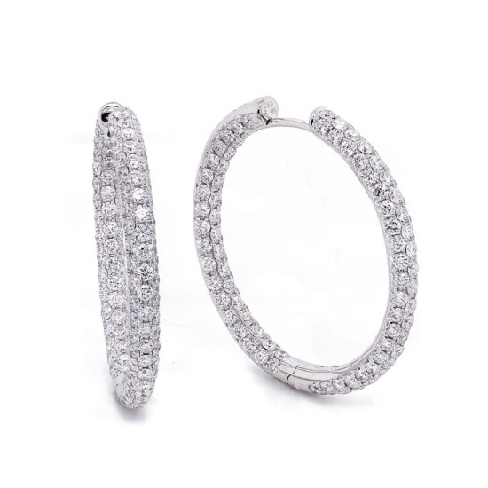 Three Row Inside Out Diamond Hoop Earrings