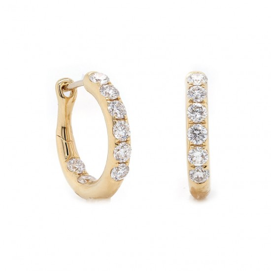 Yellow Gold Diamond Hoop Earrings 15mm
