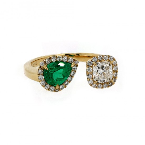 Open Emerald and Diamond RIng