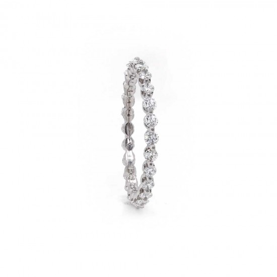 Delicate Single Prong Diamond Eternity Band