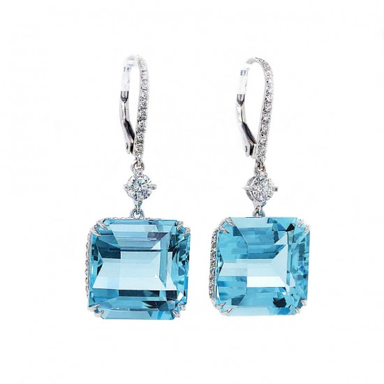 Asscher Cut Aquamarine Diamond Earrings