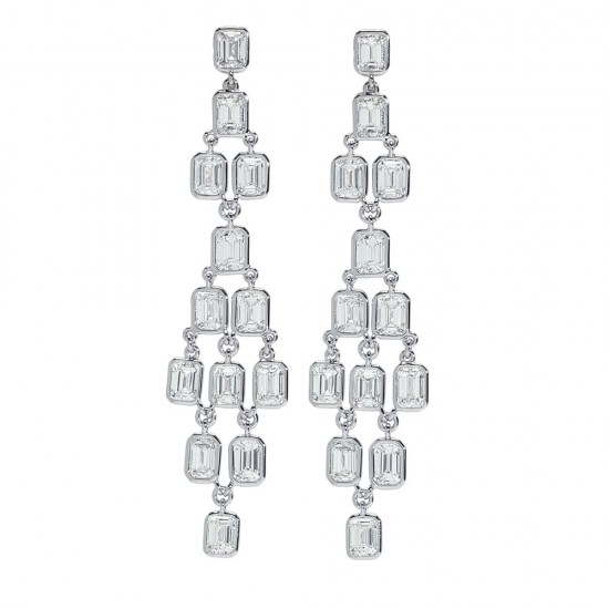 Baguette Diamond Chandelier Drop Earrings