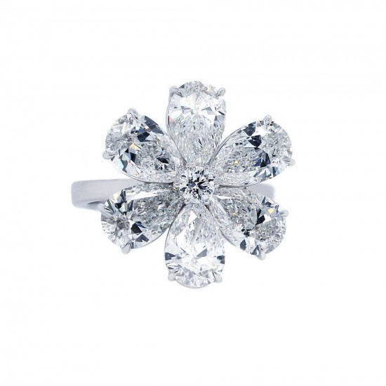 Pear Diamond Flower Ring