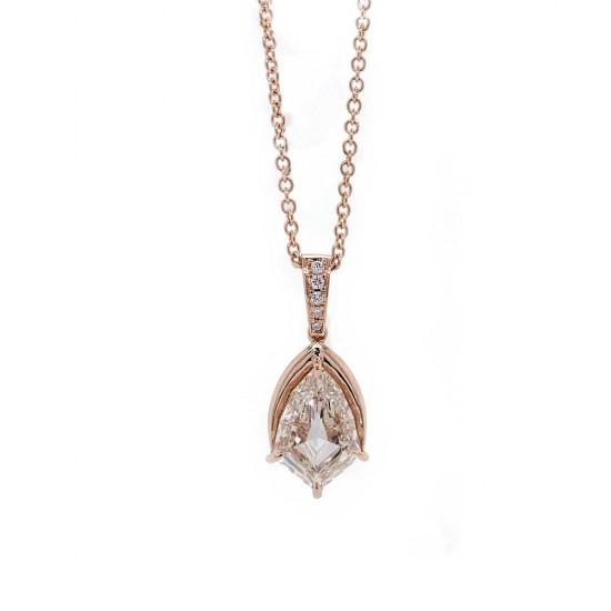 Kite Shaped Diamond Pendant in Rose Gold