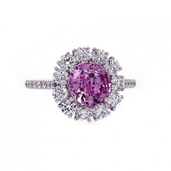 Unheated Pink Sapphire Halo Ring