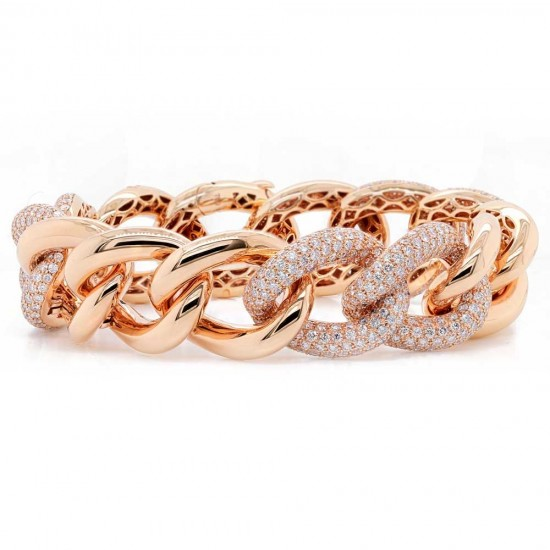 Stunning Rose Gold Diamond Pave Link Bracelet