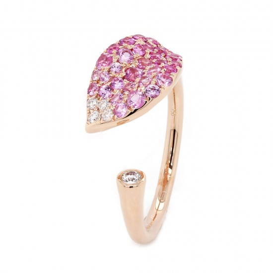 Pink Sapphire Ombre Floral Finger Wrap