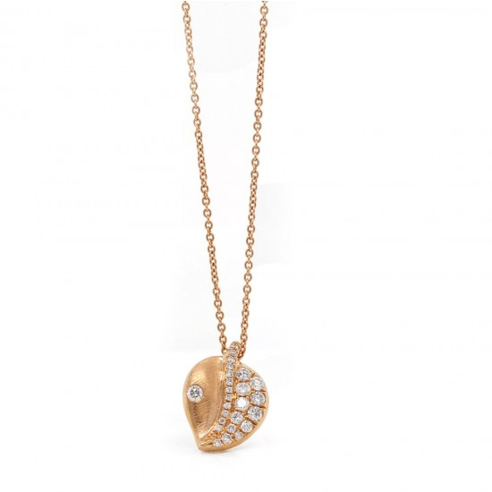 Rose Gold Diamond Pave Leaf Pendant