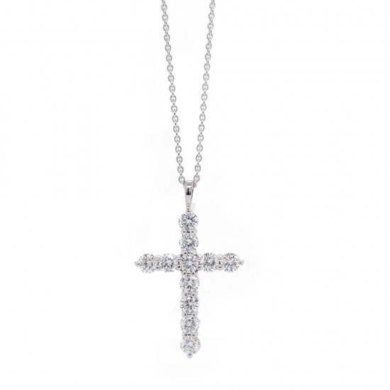 White Gold Diamond Cross Necklace 1.59 ct twt