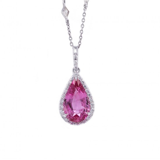 Pink Sapphire Pear Halo Pendant