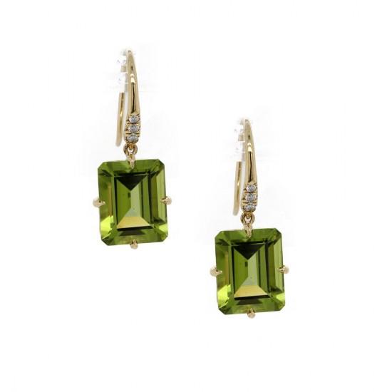 Peridot Emerald Cut Drop Earrings