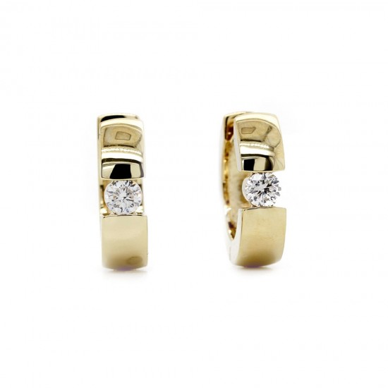 Yellow Gold Diamond Hoop Earrings 15mm