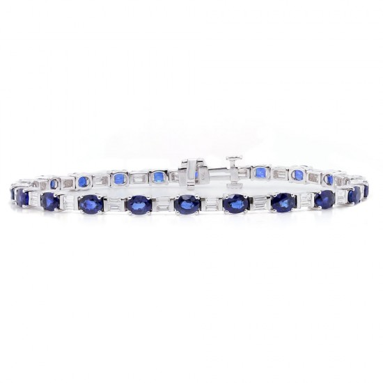 Sapphire and Baguette Diamond Bracelet