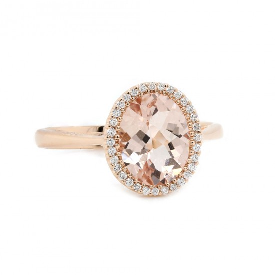 Peach Morganite Rose Gold Halo Ring
