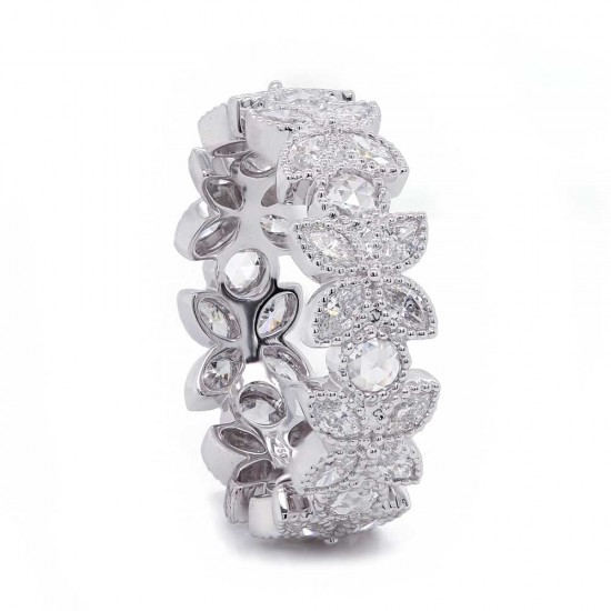 Flower Style Diamond Eternity Band
