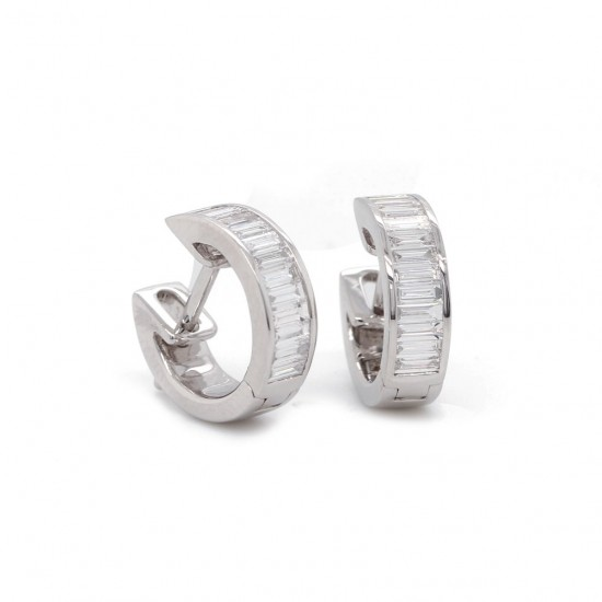 White Gold Diamond Channel Set Hoop Earrings