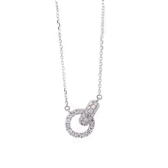 White Gold Diamond Interlocking Circle Necklace