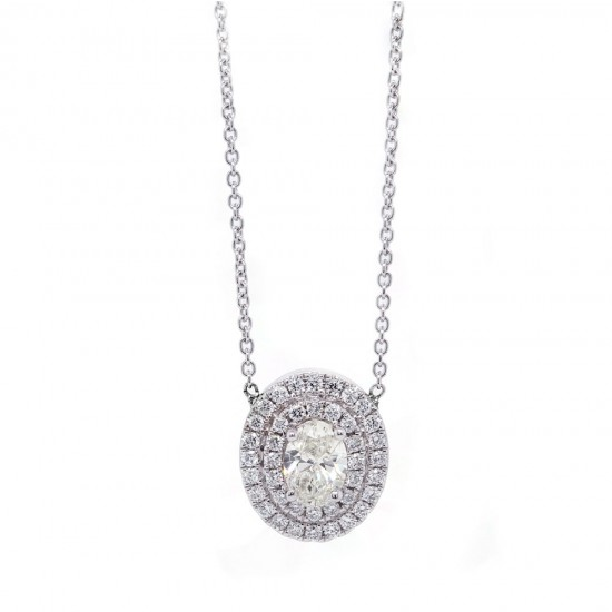 Oval Diamond Double Halo Pendant