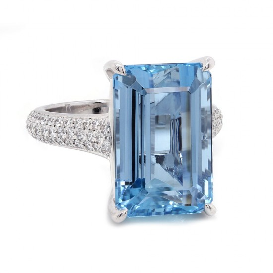 Aquamarine Platinum Pave Ring