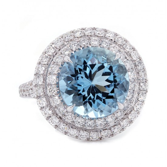 Aquamarine Double Halo Ring