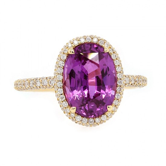 Unheated Purple Sapphire Halo Ring