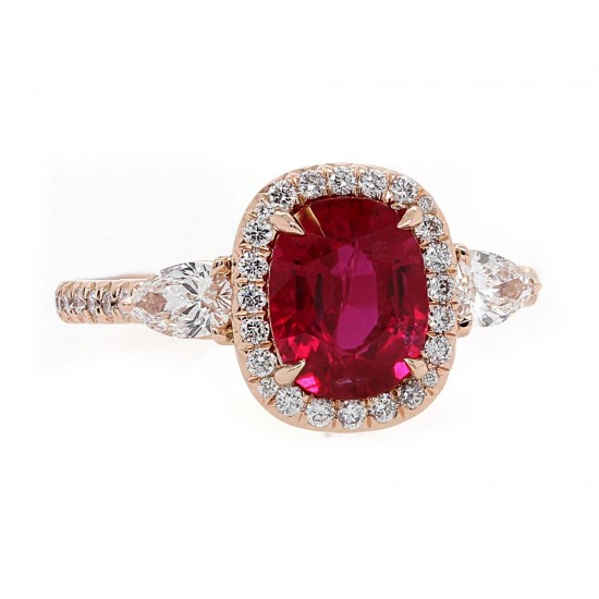 Ruby Rose Gold Halo Ring