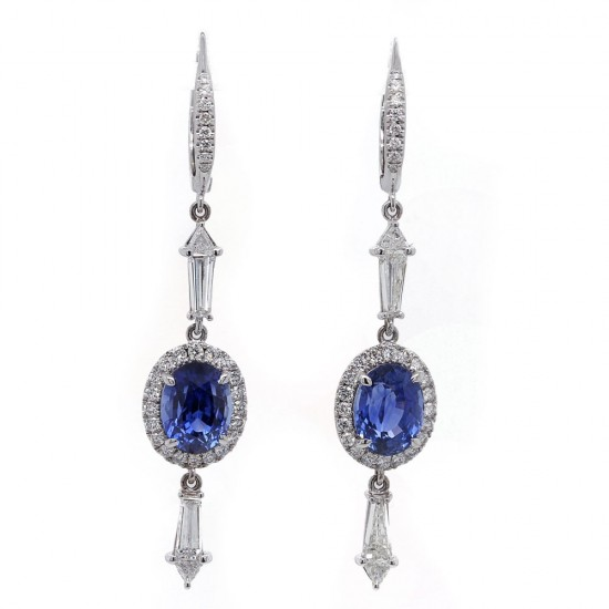 Oval Blue Sapphire Drop Earrings