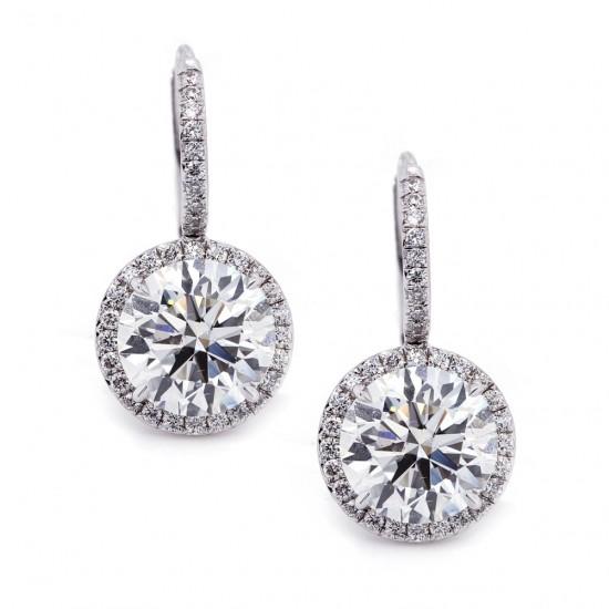 Drop Diamond Halo Earrings 4.01 ct