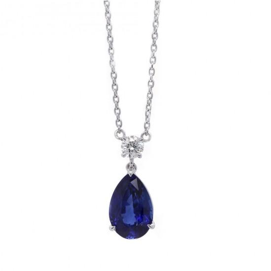 Pear Shape Blue Sapphire Pendant