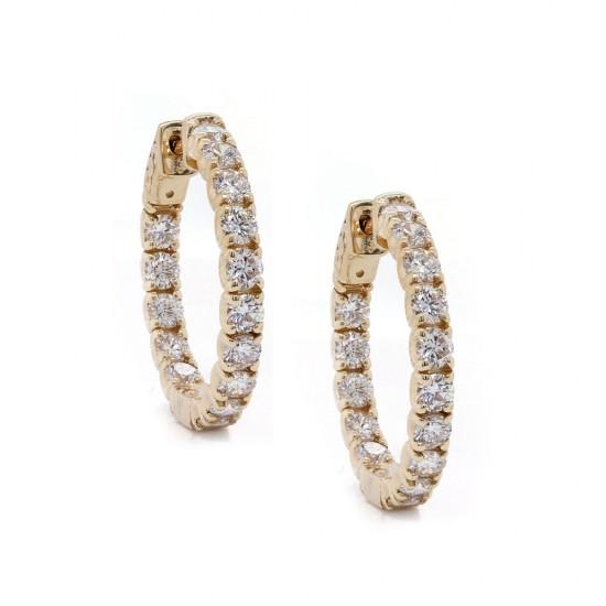 Yellow Gold Inside Out Diamond Hoop Earrings