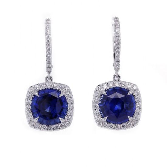 Royal Blue Sapphire Drop Earrings