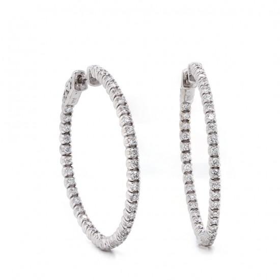 Diamond Inside out Hoop Earring 35 mm