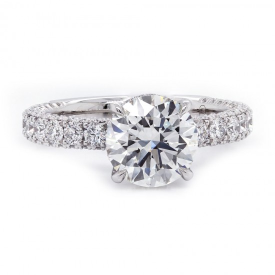 Three Sided Pave Diamond Engagement Ring