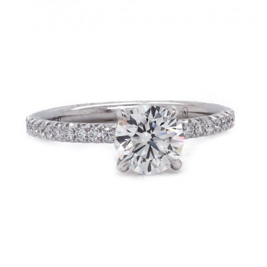 Delicate French Pave Diamond Engagement Ring