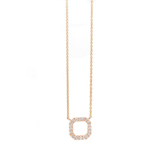 Rose Gold Diamond Open Square Necklace