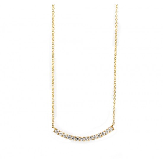 Yellow Gold Curved Bar Diamond Necklace