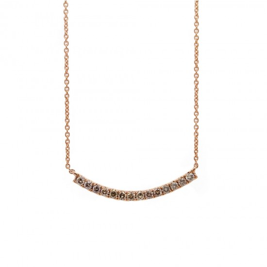 Rose Gold Curved Bar Brown Diamond Necklace