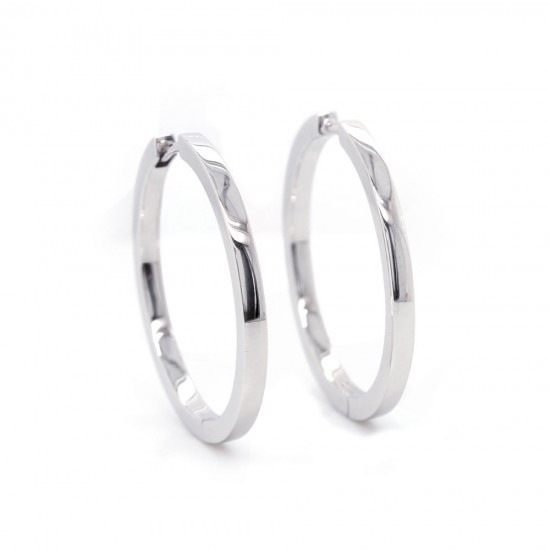 White Gold Hoop Earrings 29mm
