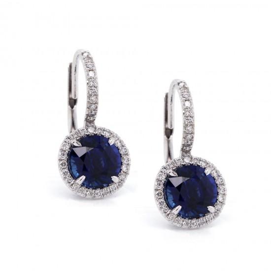 Sapphire Drop Halo Earrings 2.87 ct