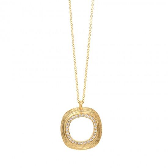 Marika Textured Circle Diamond Pendant