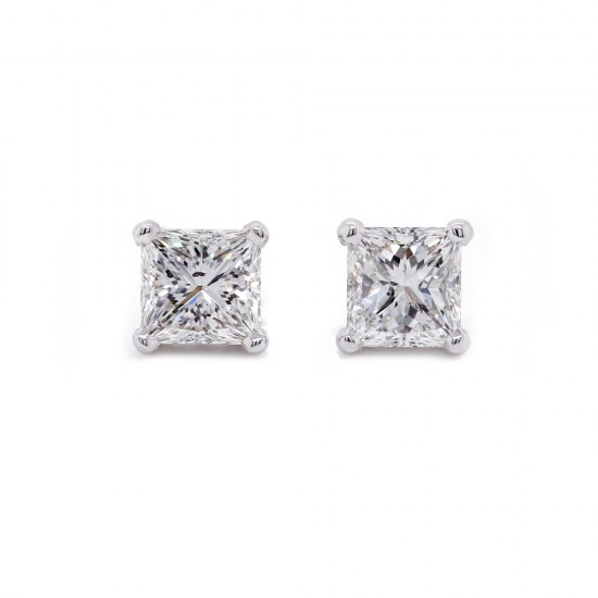 Princess Cut Diamond Stud Earrings 2ct twt