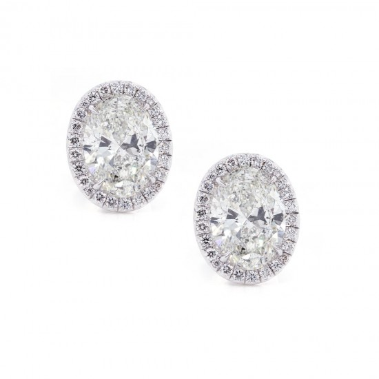Oval Diamond Stud Halo Earrings
