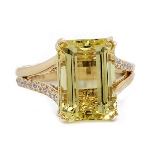 Golden Beryl Split Shank Ring