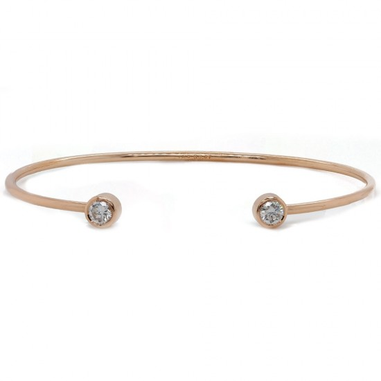 Rose Gold Diamond Cuff Bangle Bracelet