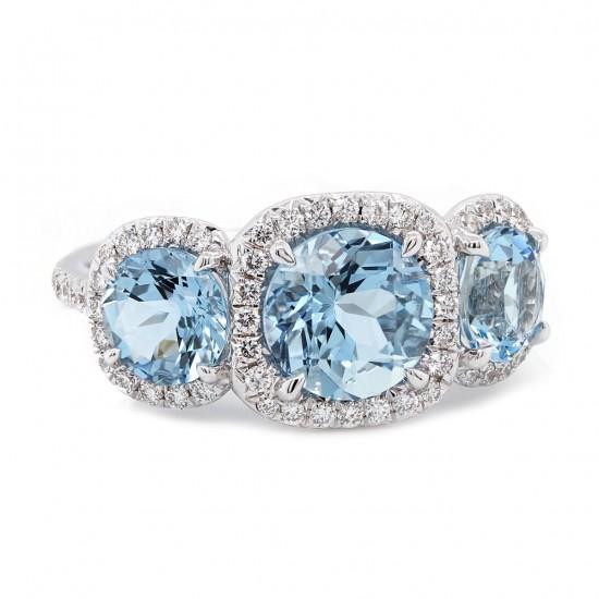 Aquamarine Three Stone Cushion Halo Ring